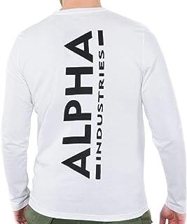"ALPHA INDUSTRIES Camiseta de manga larga para hombre, diseño con texto ""Heavy Speed"", color rojo"