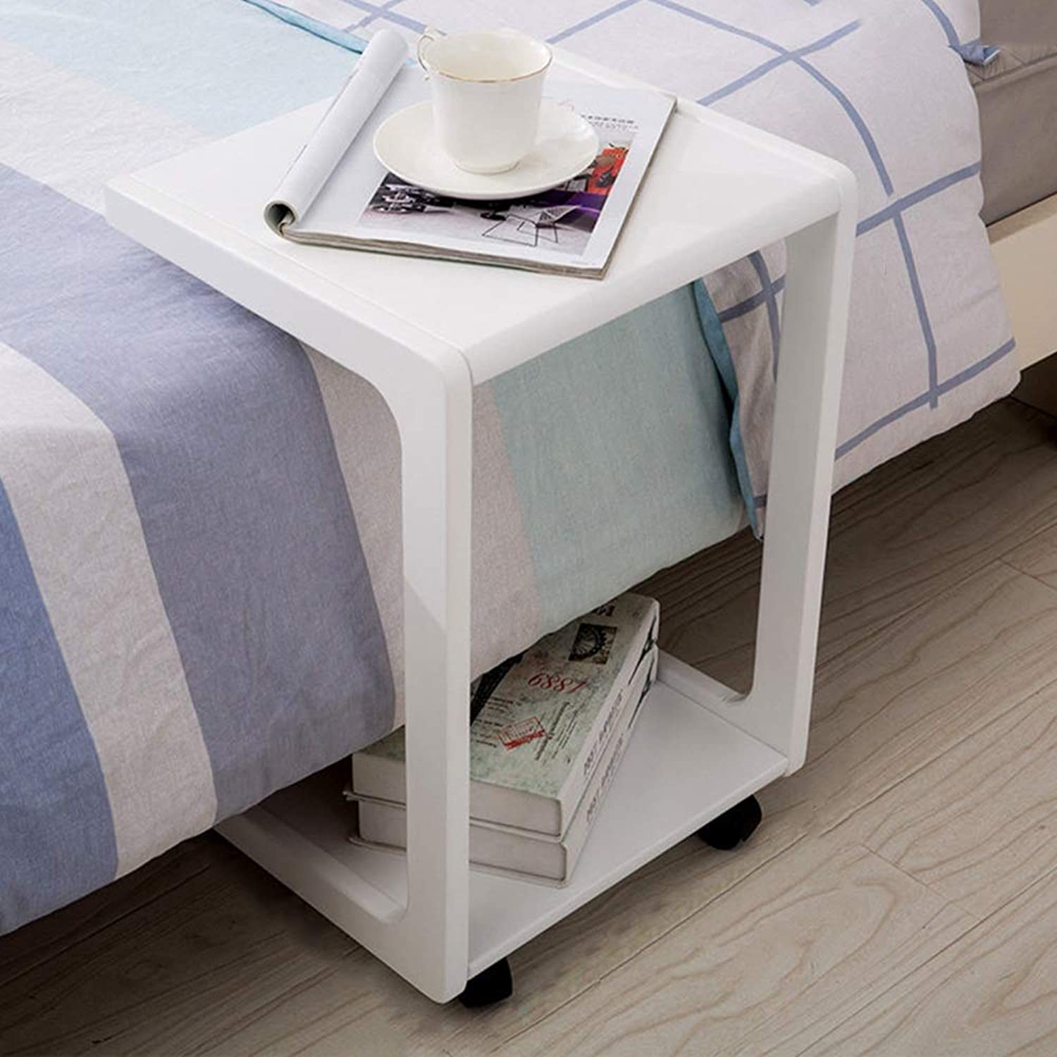 LJHA bianzhuo Side Table, Solid Wood Movable Practical Household Side Table Multifunction Reinforce Sofa Side Table Simple Bedroom Bedside Computer Desk Side Table (color   White)