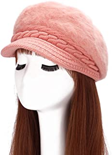 Aland Women Fashion Faux Rabbit Fur Knitted Hat Outdoor Winter Thicken Warm Beret Light Pink One Size
