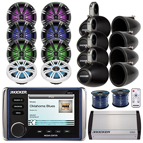 Kicker KMC10 Marine All in One Bluetooth Stereo Receiver Bundle Combo W/ 8X 6.5 195-Watt LED Coaxial Speaker with Remote Controller + 8X Empty Tower Enclosures + Amplifier + Enrock 100Ft Speaker Wire