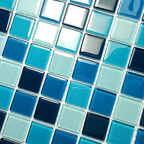Blue Sea – Mosaïque carrelage mural décoratif 3D, Verre, multicolore, 10PC