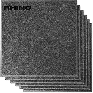 "RHINO Acoustic Absorption Panel, Beveled Edge, 12"" X 12"" X 0.4"", Dark Gray Color, 6 Pcs per Pack"