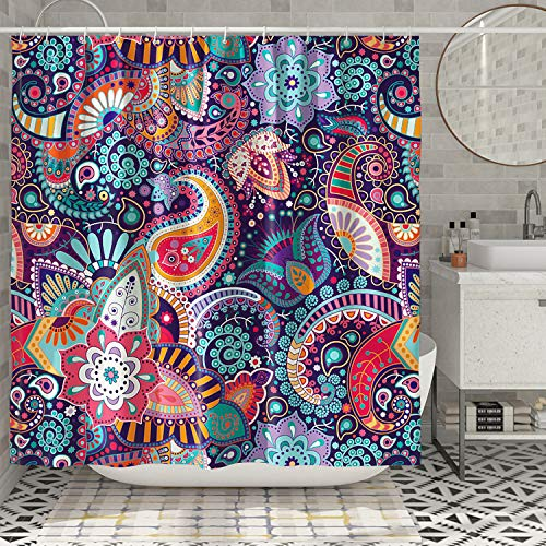 DESIHOM Purple Bohemian Shower Curtain Boho Paisley Floral Shower Curtain Colorful Mexican Shower Curtain for Bathroom Polyester Waterproof Shower Curtain 72x72 Inch