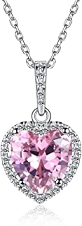 ChicSilver Heart-Shaped 12 Months Created Birthstone Necklace Jewelry Sterling Silver Pendant Necklace