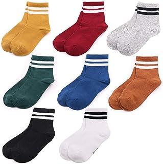 LORYLOLY, 8 pares de calcetines para niños, calcetines multicolores de algodón para niño niña de 2 a 11 años, transpirable anti-olor anti-bacterias para la escuela Deportes vestido diario