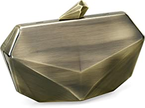 Metallic Fox Face Shaped Hard Case Clutch Evening Handbag w/Detachable Strap