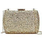 Bolso De Noche Mujeres Lentejuelas Fashion Party Wedding Clutch Bag Evening Bag Ladies Mini Messenger Bag para Mujer Flap Shoulder Bag Handbag Purse-Gold