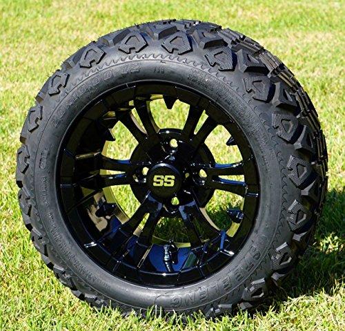 12' Vampire Gloss Black Aluminum Wheels and 20X10-12' All Terrain Tires Combo - Set of 4