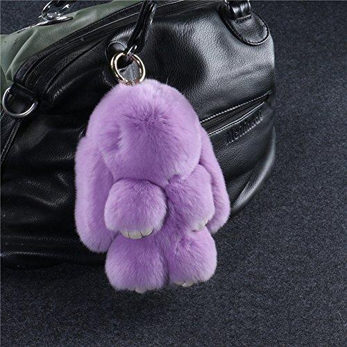 Crazy Cart Fur Rabbit Fur Pendant Plush doll for Bag Ornaments Accessories Key Ring or Car Keychain Gift(Light Purple)
