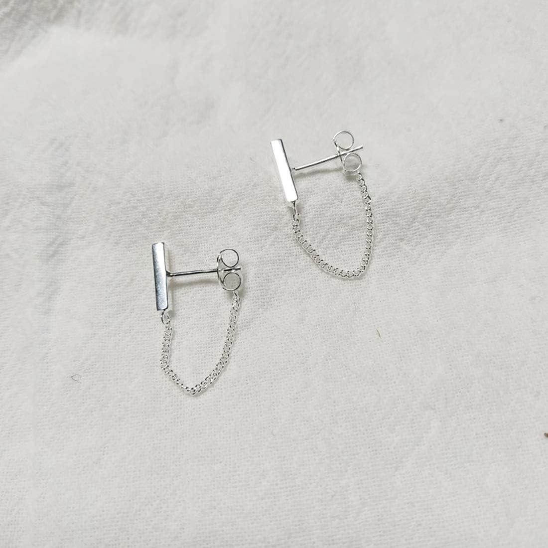 Reffeer Bar Studs Earrings for Women Teen Girls Minimalist Bar Earring with Chain Dangle Earrings 925 Sterling Silver Stud Earrings