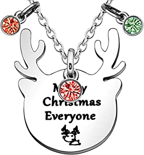 JJIA Merry Christmas Necklace for Women Men Kids Gifts