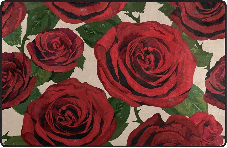 DEZIRO Red pinks Floor mats for Home Entry Way Area Rug Doormat Carpet shoes Scraper Anti-Slip Washable
