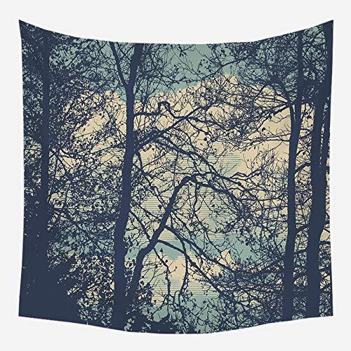 Tapiz psicodélico árbol paisaje mandala bosque área escénica cortina decoración psicodélica tapiz bohemio mandala sala de estar dormitorio decoración (L / 150x200cm franela)