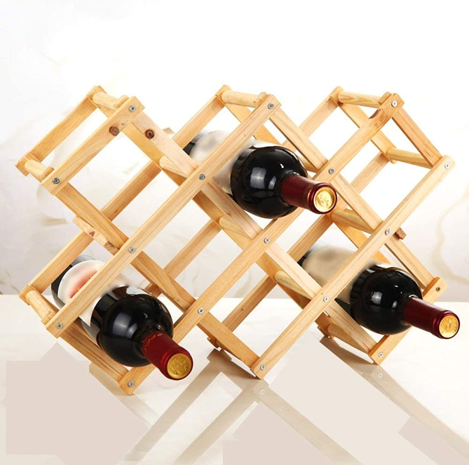 Red Wine Shelf European Solid Wood Folding Wine Rack, Home Wine Rack, Multi-Bottled Solid Wood Wine Rack -Wine Rack (color   Roasted color) (color   Primary color)