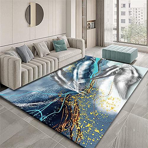 Alfombras De Pelo Largo Baratas Alfombra De Habitacion Diseño gráfico Abstracto de patrón de Pluma Gris Azul Dorado Alfombras Exterior 100X150cm