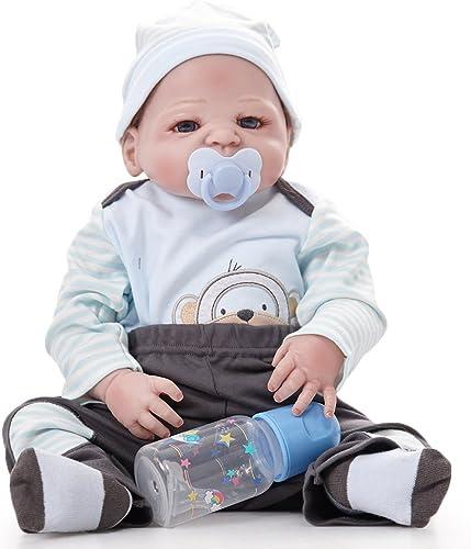 QXMEI 22 Zoll Reborn Baby Dolls Realistische Silikon Handgemachte Baby Doll Soft Simulation Lebensechte Magnetische Mund Kinder Geschenke K en Gewaschen Werden 5cm