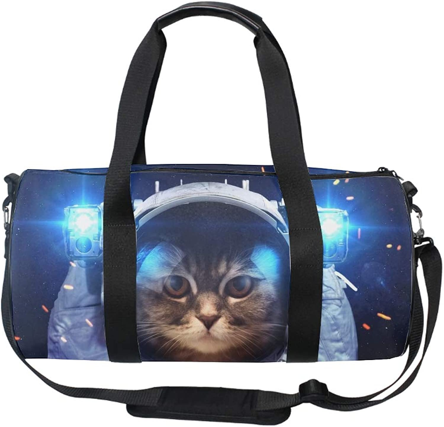 17  Blank Sports Duffle Bag Funny Space Cats Gym Bag Travel Duffel with Adjustable Strap
