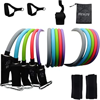 Hzajoy Resistance Bands Set, Workout Bands Resistance with Handle,Exercise Bands Resistance Door Anchor, Tube Ankle Straps Weight Bands Home Gym Beginner pro Latex Physical Therapy Strength Training