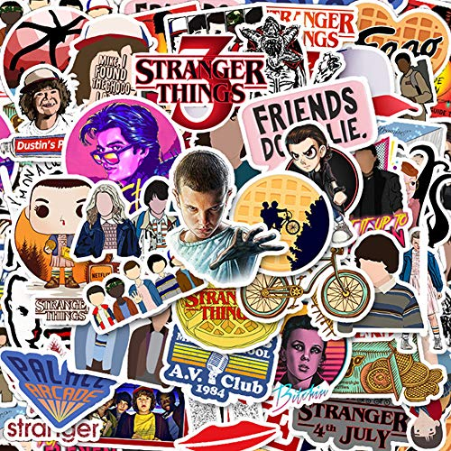50 Pack Stranger Things Stickers Laptop Water Bottle Decal Waterproof Vinyl Stickers for Teens, Girls, Women Skateboard Motorcycle Bicycle Mobile Phone Luggage Patches Guitar DIY Decal