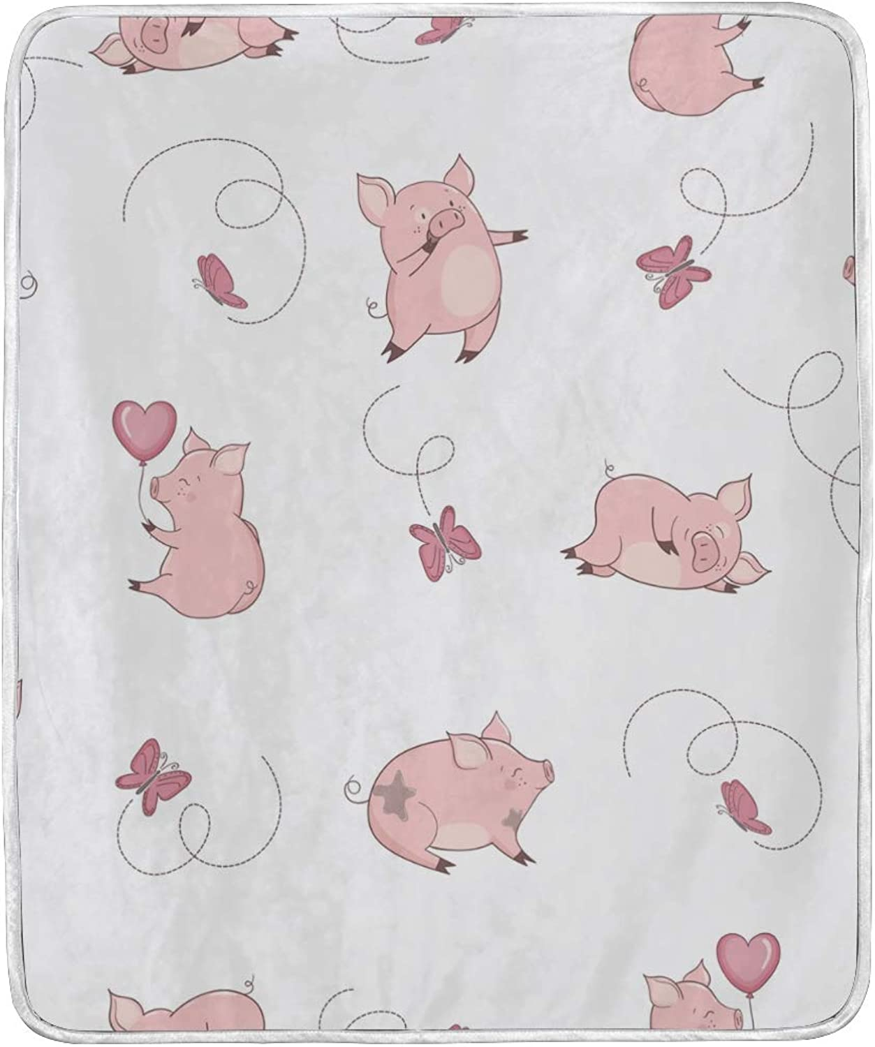 Vantaso Blankets Cute Pig Funny Butterflies Throws Soft Kids Girls Boys 50x60 inch