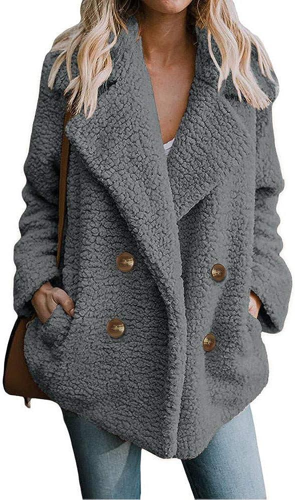 Women's Faux Fur Coat Fuzzy Cardigan Warm Fleece Jacket Long Sle