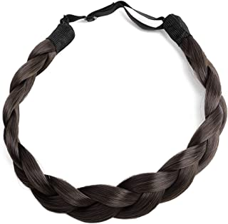 Ty.Hermenlisa Chunky Synthetic Hair Braided Headband Classic Wide Braids Elastic Stretch Hairpiece Women Beauty Accessory, 50g, Chocolate