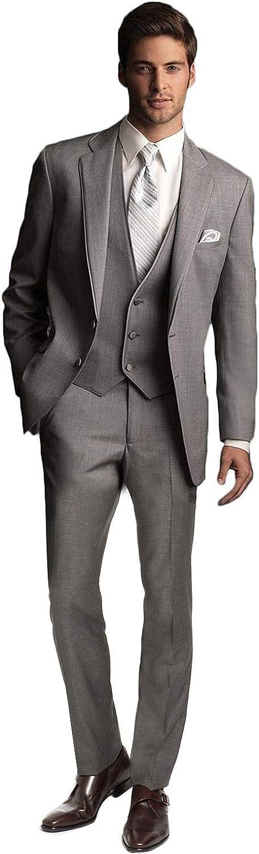 P&G Men's Suit Three Pieces NotchLapel Two Buttons Dress Business Wedding Party Jacket Vest & Pants
