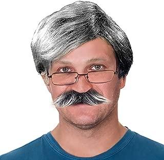 Tigerdoe Old Man Costume - 3 Pc Set - Dress Up Set, Grey Wig, Mustache, Grandpa Glasses - Grandpa Costume