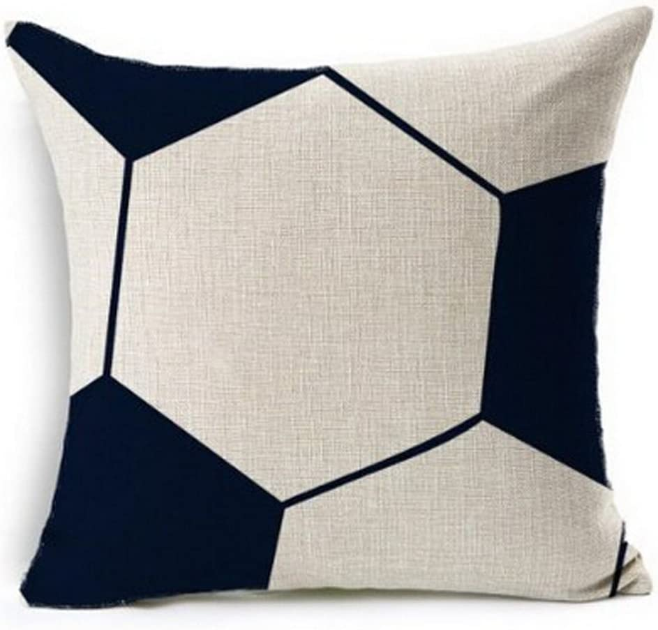 Andreannie Simple Soccer Ball Design Throw Pillow Case Personalized Cushion Cover New Home Office Decorative Square 18 X 18 Inches??¡