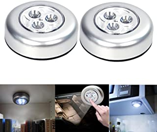 2Pcs Touch Lamp, LED Battery Powered Wireless Night Light Stick on Tap Touch Lamp Lights White