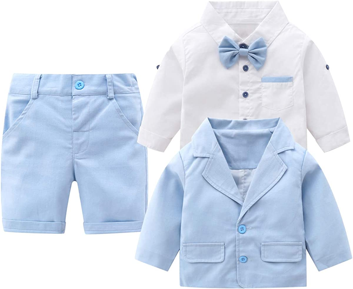 Baby Boys Gentleman Outfits Suits, Infant Long Sleeve Shirt+Cropped Pants+Bow Tie +Suit Jacket Clothes Set