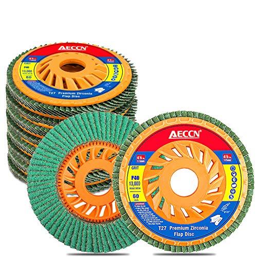AECCN DIY Fächerschleifscheibe (für Winkelschleifer verschiedene Materialien, Profi-Fächerscheiben, Schleifscheiben, Lamellenscheiben Ø 115 mm, Körnung 80)