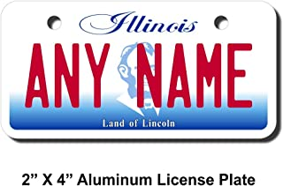 TEAMLOGO Personalized Illinois License Plate - Sizes for Kid's Bikes, Cars, Trucks, Cart, Key Rings Version 2