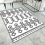 Alfombras Para Pasillos Largos blanco Alfombras Infantiles La alfombra de la oficina de la sala de estar del dormitorio de la impresión del color del cuadrado de la impresión 3D en blanco y negro simp