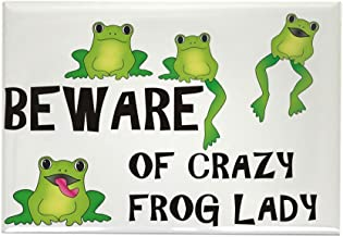CafePress Beware Of Crazy Frog Lady Rectangle Magnet, 2