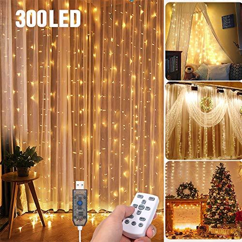Tomshine Tenda Luci LED 3 x 3 meters, 300 LEDs con Luci Natale Tenda, IP65, 8 Programmi di Luce,Tenda di Luci per Natale, Decorazione Feste, Interni (Bianco Caldo)