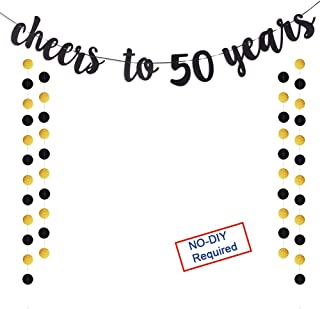 Cheers to 50 Years Gold Glitter Banner For Adult 50th Birthday Party Wedding Anniversary Party Decorations