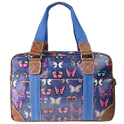 Miss Lulu Handtasche, Schultertasche, Damen, Eule, Schmetterling, Blumen, gepunktet, Wachstuch. Zum Reisen, über Nacht, Wochenende, Schultasche Gr. Large, Butterfly Navy