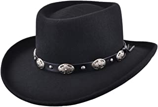 837e4b9fb8e Maz Crushable Wool Felt Gambler Cowboy Hat with Buckle Band - Black