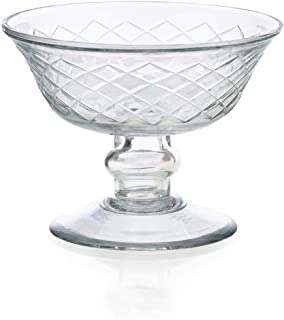 Serene Spaces Living Diamond Cut Glass Pedestal Bowl, Measures 6 inches D X 5 inches H