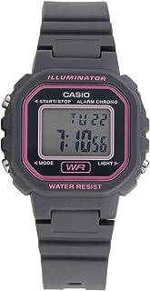 ساعة راتنج مقاومة للماء مربعة رقمية للنساء من كاسيو LA-20WH-8ADF - رمادي