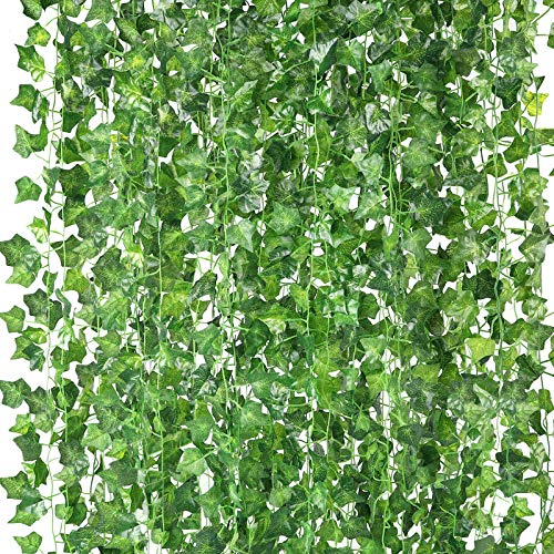 HATOKU 18 Pack Fake Vines for Room Decor Fake Leaves Ivy Garland Greenery Hanging Plants for Bedroom Aesthetic Decor Wedding Wall Decor, 126 Feet