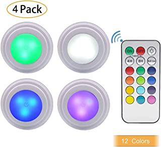 Sorxine LED Tap Lights Stick On Lights Color Changing Battery Powered Puck LED Lights 4 Pack with 1 Remote Control,Touch Lights,Closet Light Battery Operated,Under Cabinet Lights,Counter Light