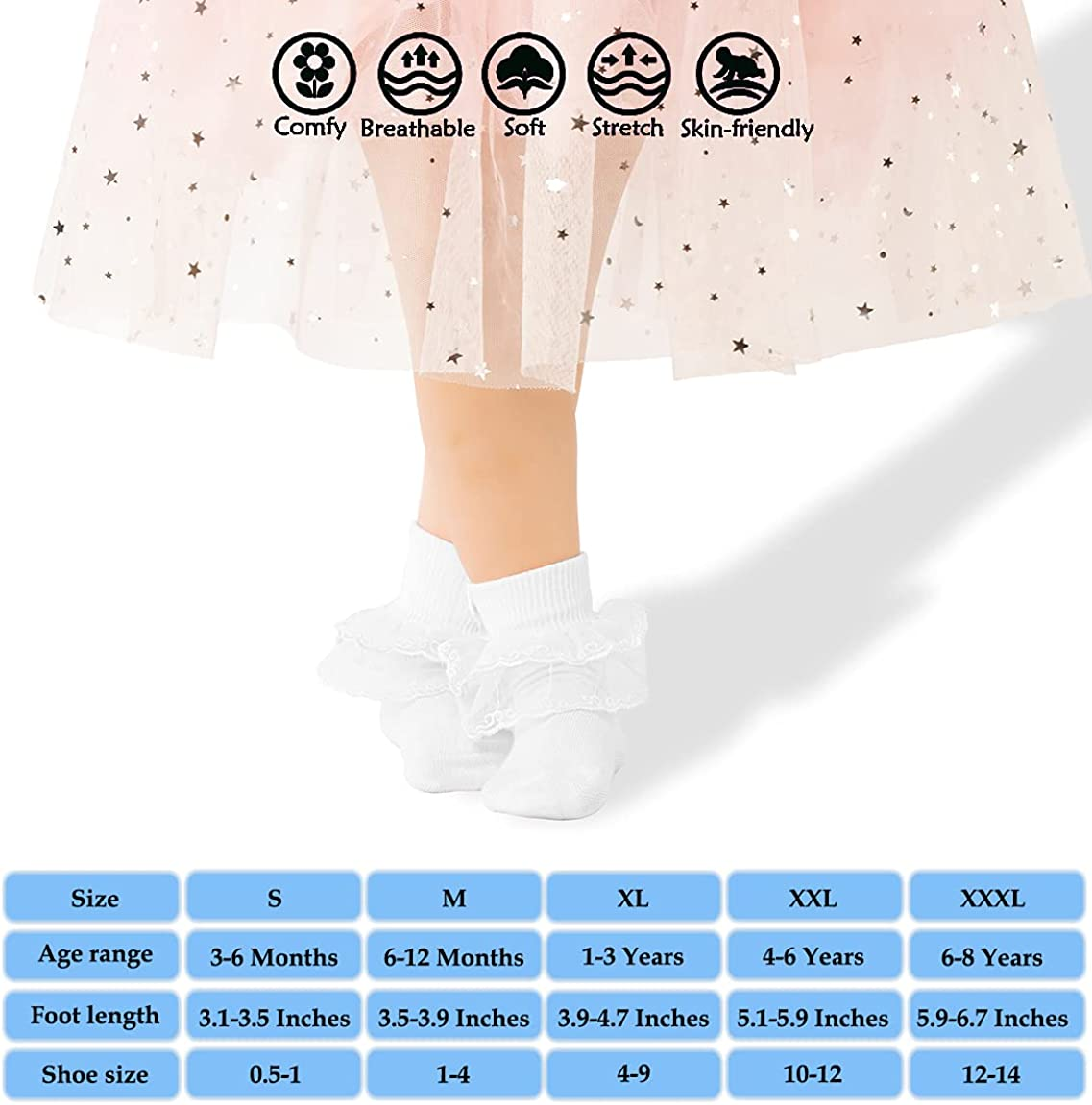 Dicry Baby Girls Socks Turn Cuff with Bows Ruffled Eyelet Frilly Lace 1-8 Years