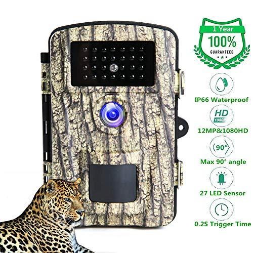 Camara de Caza 1080P 12MP Cámaras De Caza IP66 Impermeable Trail Cámara De Visión Nocturna Activada por Camara Caza Nocturna LEDs IR y 2.31 'Pantalla LCD Sensor de Movimiento
