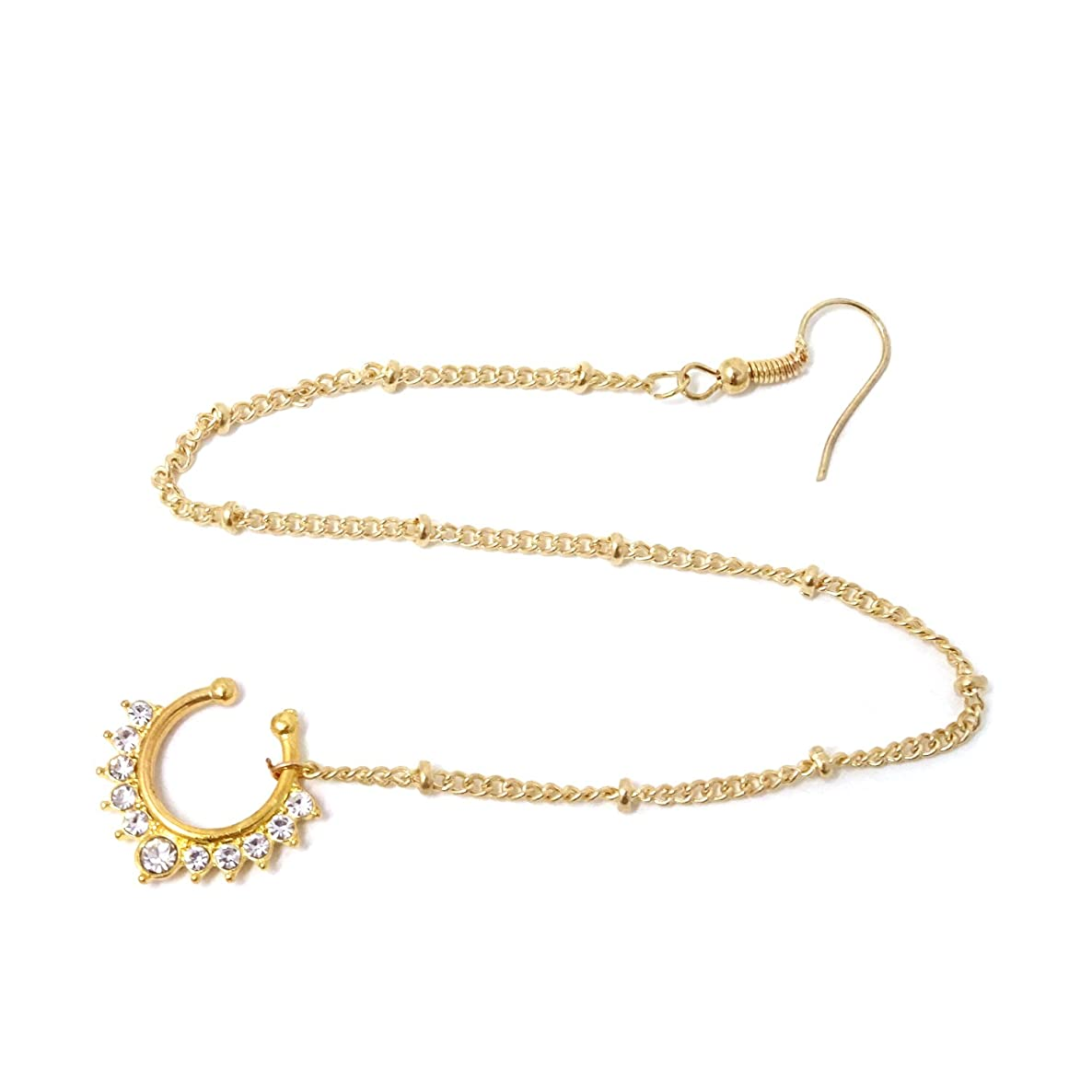 Honbay Gold Fake Septum Ring Non Piercing Indian Nose Rings with Chain Nose to Ear Chain