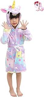 رداء حمام LUCKAPPY بناتي بقلنسوة وحيد القرن ، ملابس نوم مريحة ناعمة من الفلانيل ملابس نوم للأطفال الصغار