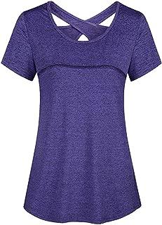Woman Tops Short Sleeve Round Neck Criss Cross Back Sports Yoga Shirt Casual Tunic Tops