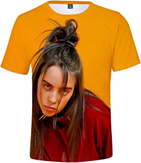 Bi//ie Ei/ish Logo 3D T-Shirt Short Sleeves Tee Shirts Top for Unisex
