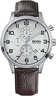 Hugo Boss Men's Silver Dial Leather Band Chronograph Watch - 1512447